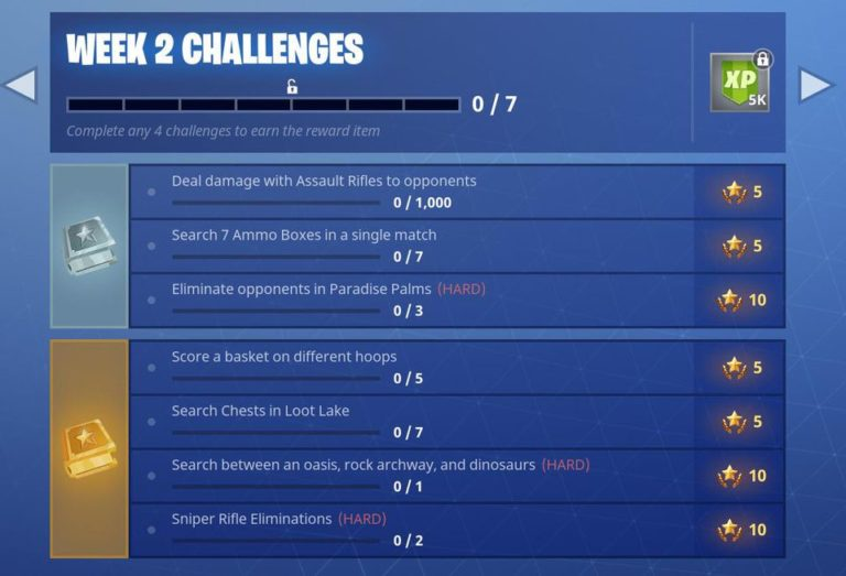 fortnite season 5 week 2 challenges