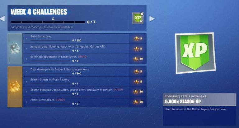 Fortnite's Season 5, Week 4 challenges