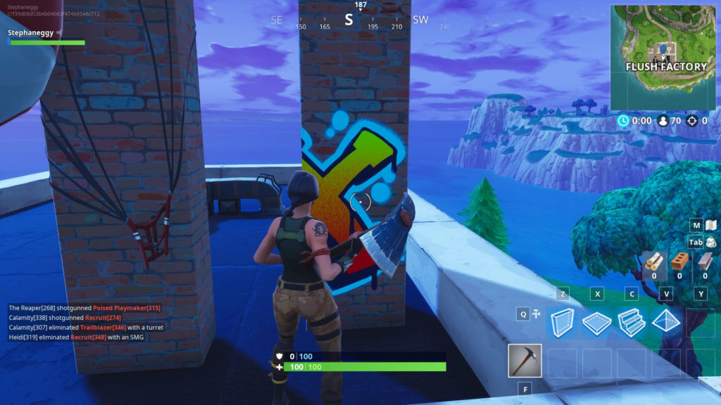 The week 8 secret banner is located at this chimney in Flush Factory