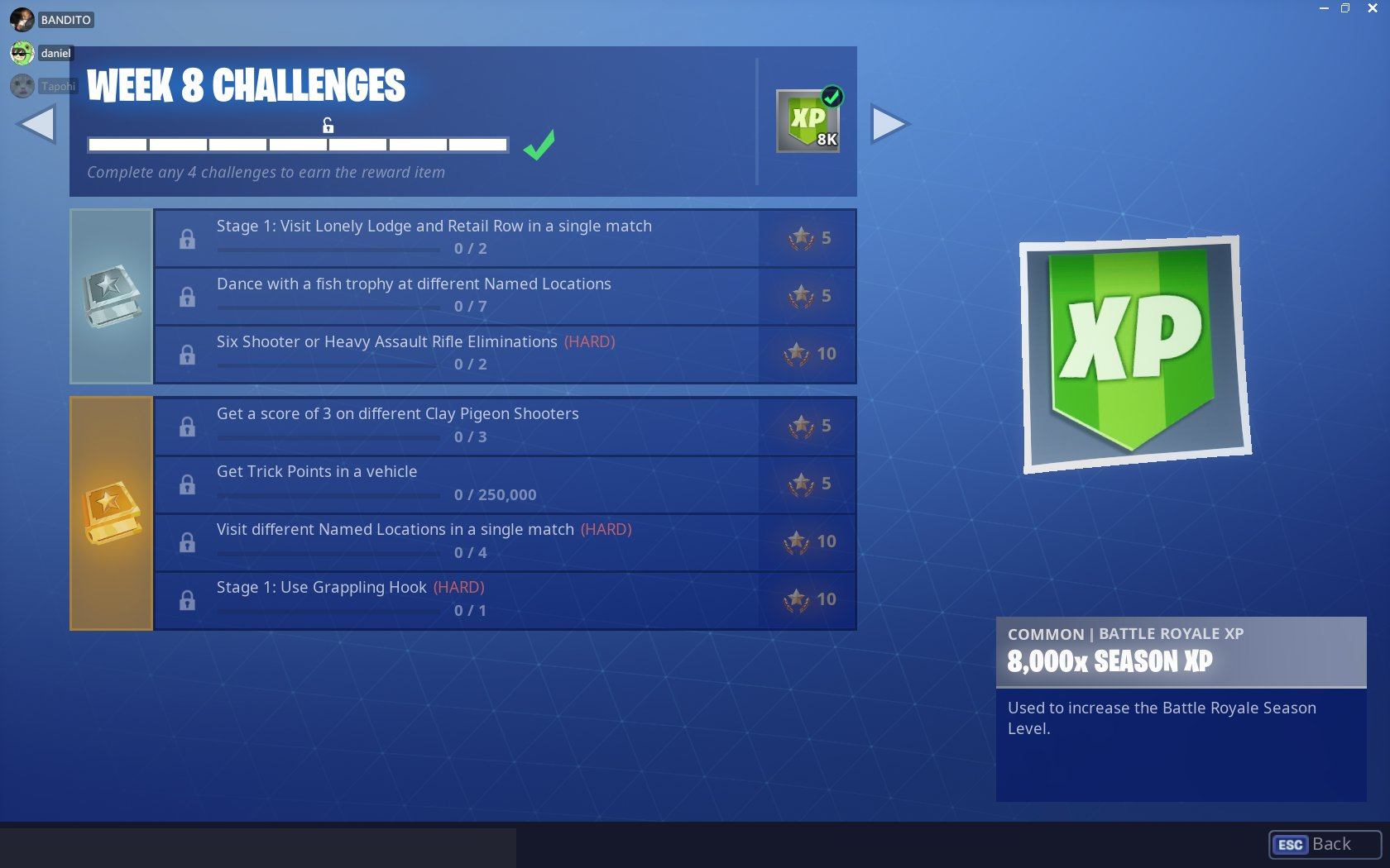 Fortnite Season 6, Week 8 Challenges