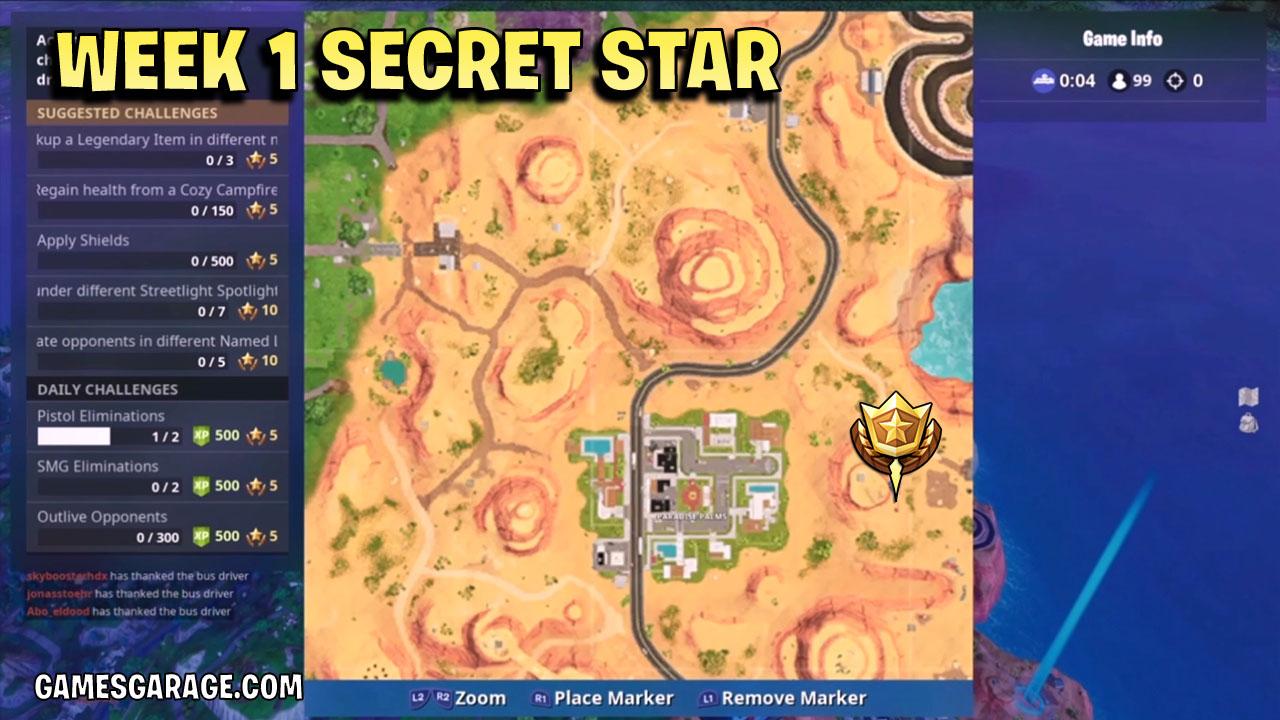 Week 1 secret star loaction fortnite season 6