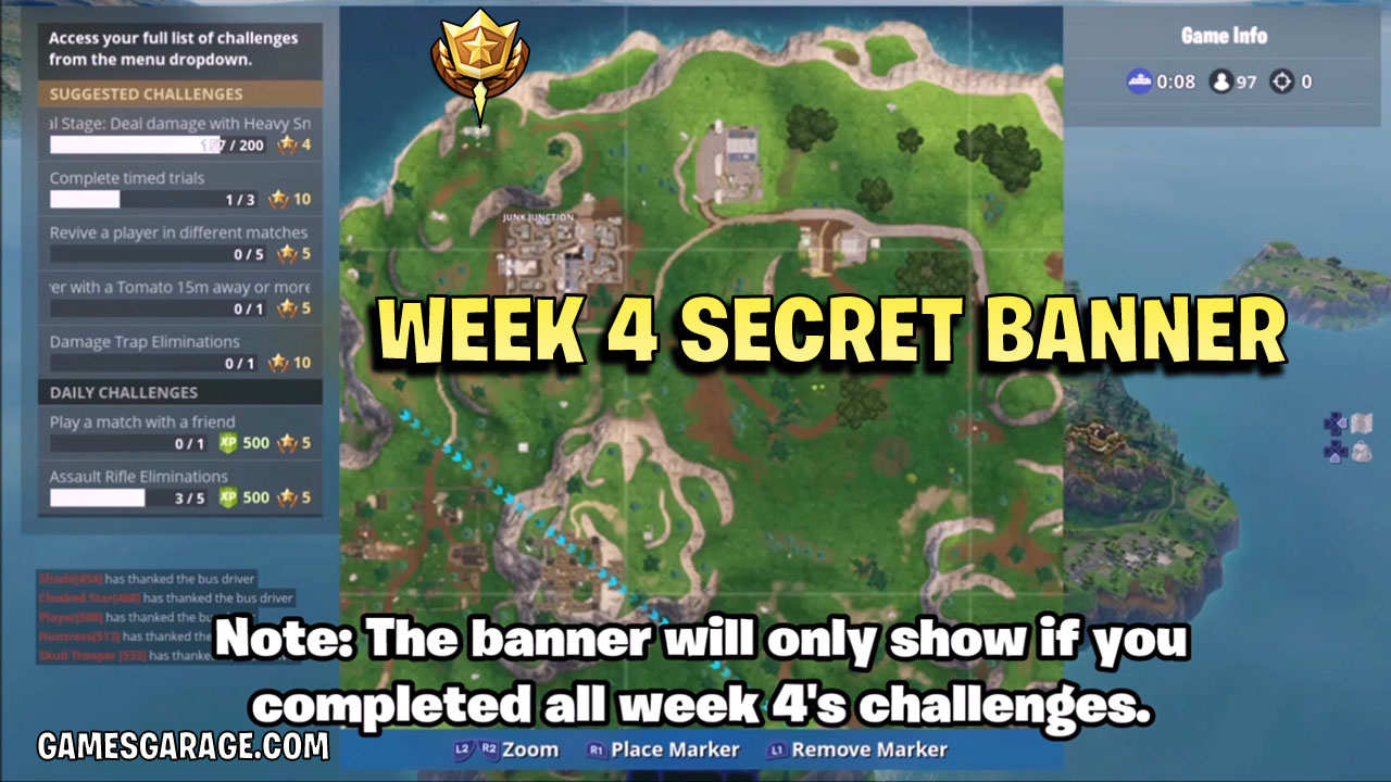 Week 4 secret banner location on map. The banner is located on the Llama above Junk Junction