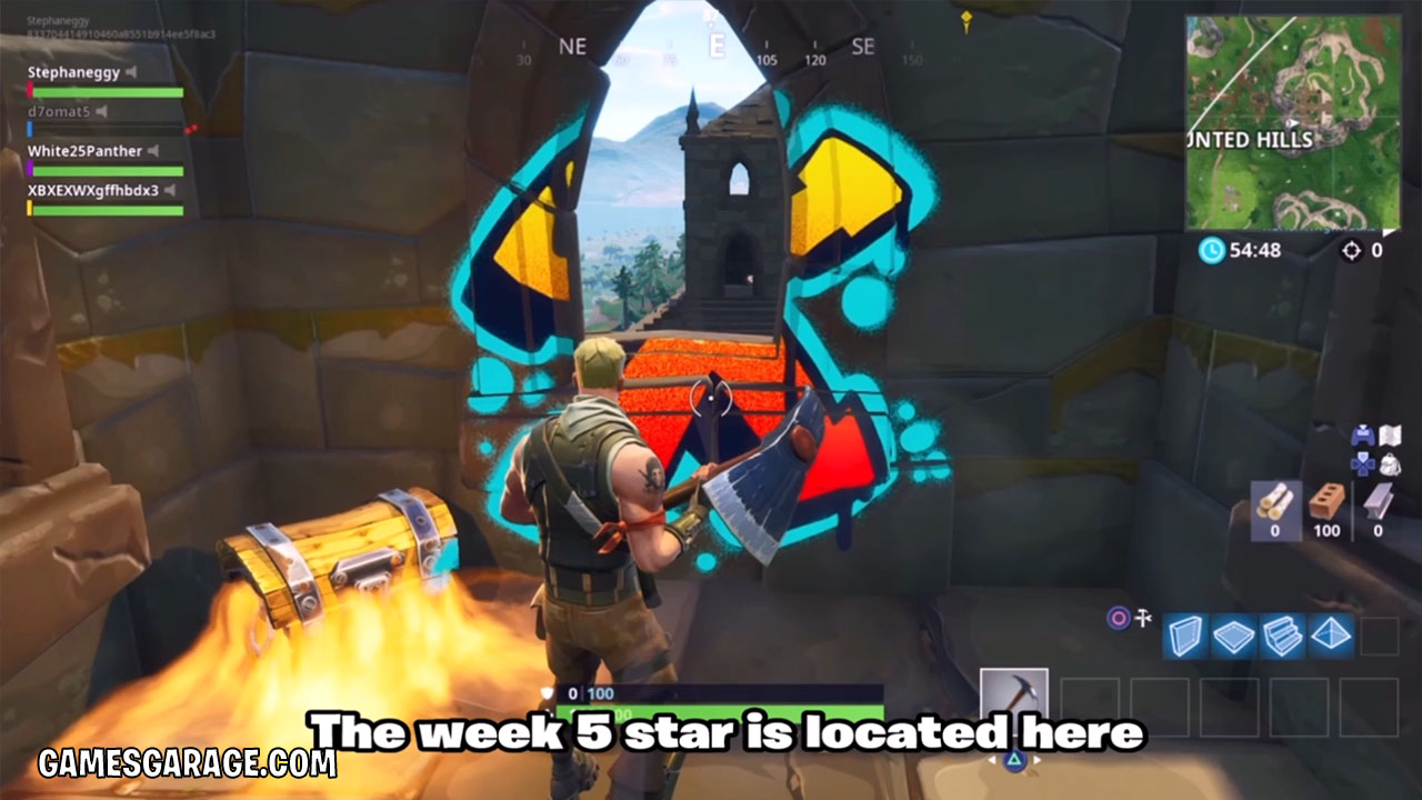 The week 5 secret star is outside of this tower.