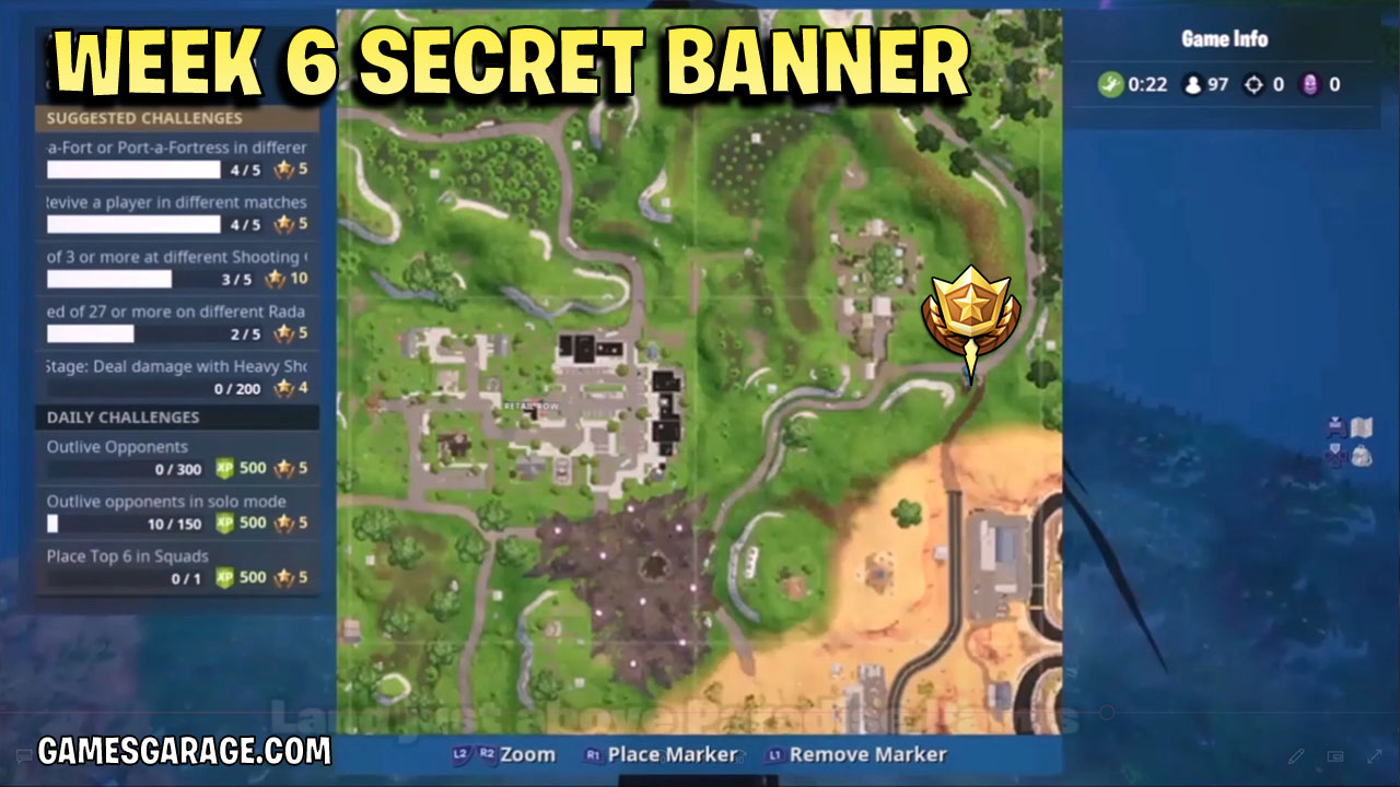 The week 6 secret banner is located above the Kart track at Paradise Palms.