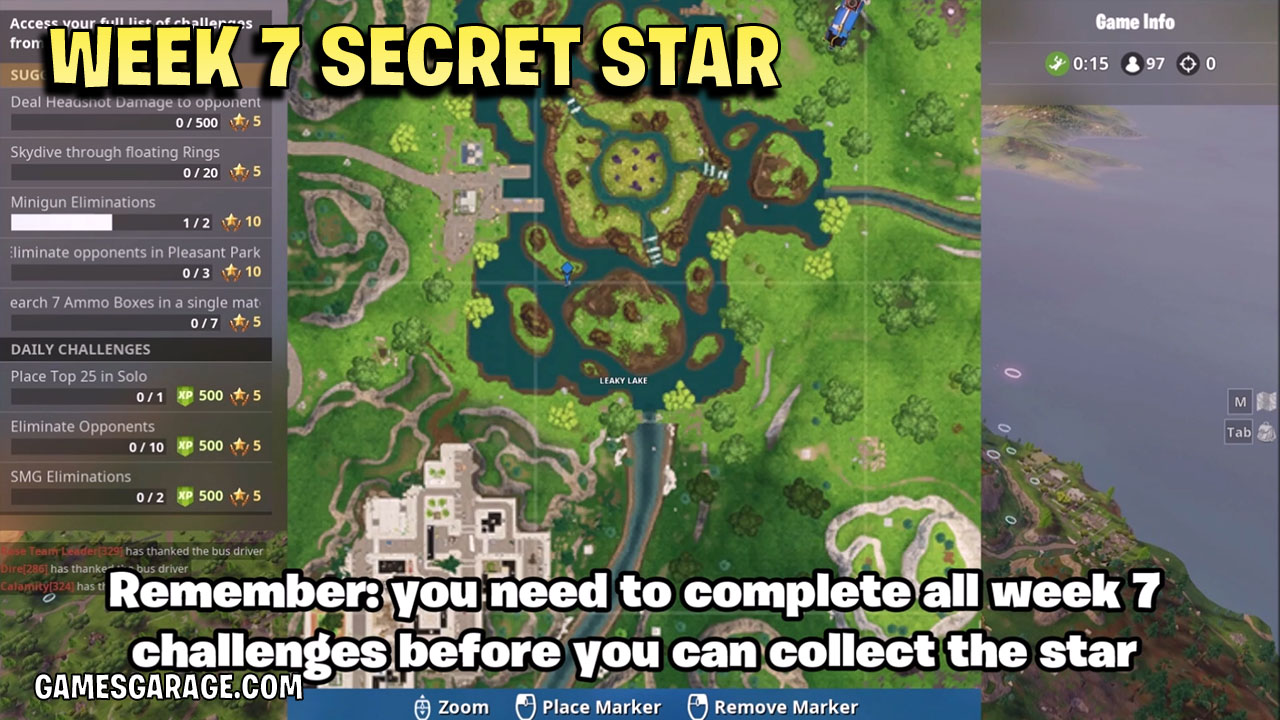 Week 7 secret star location at Leaky Lake, land on the Island just under the middle.