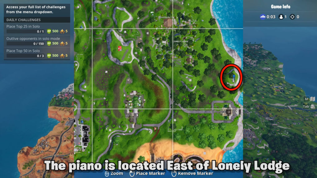 play the sheet music on the pianos near lonely lodge map location - how do you play the piano in fortnite lonely lodge