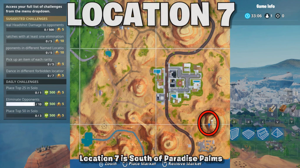 location 7 - South of paradise palms