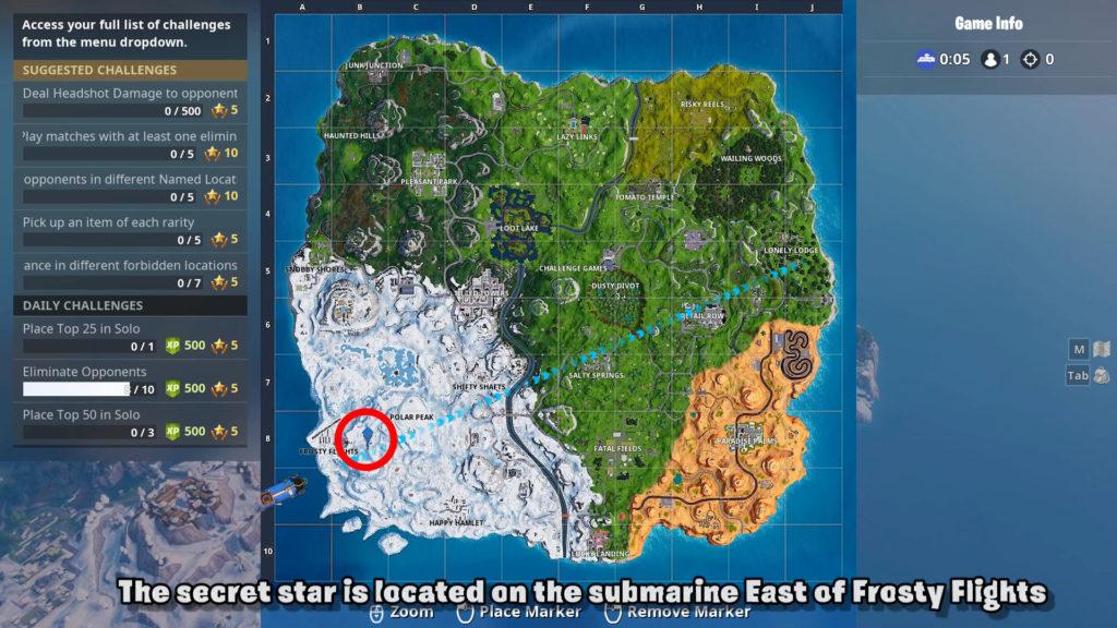 secret star week 1 map location season 7 fortnite