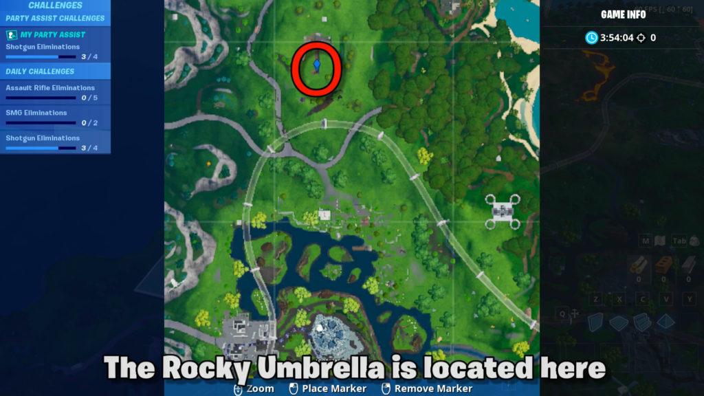 Fortbyte 7 rocky umbrella location