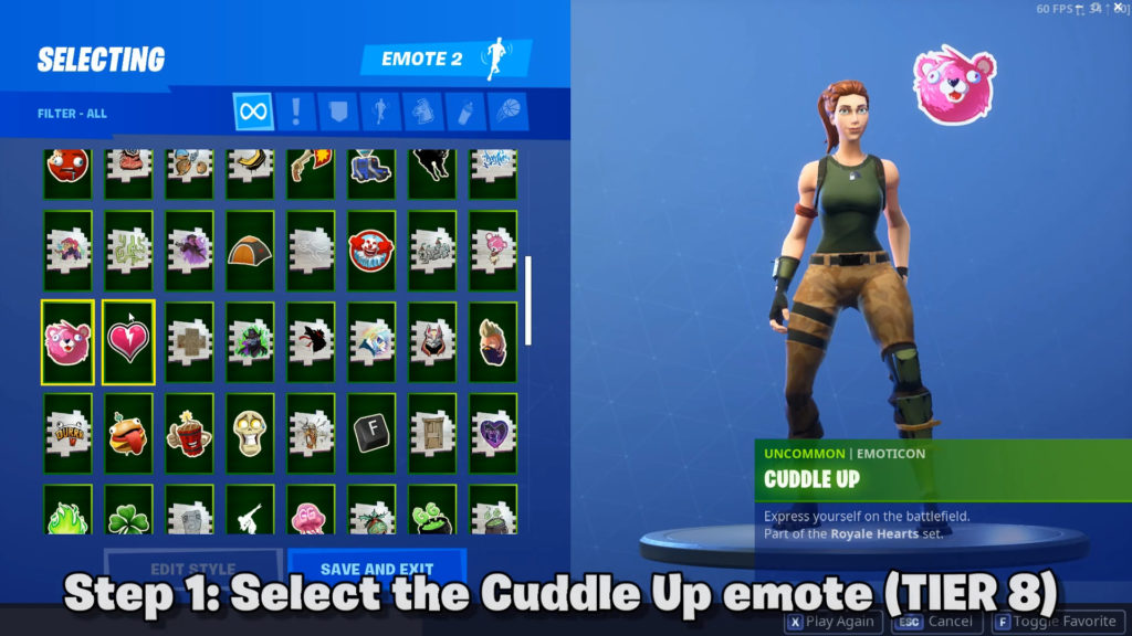 First set the cuddle up emote (unlocked at battle pass tier 8)