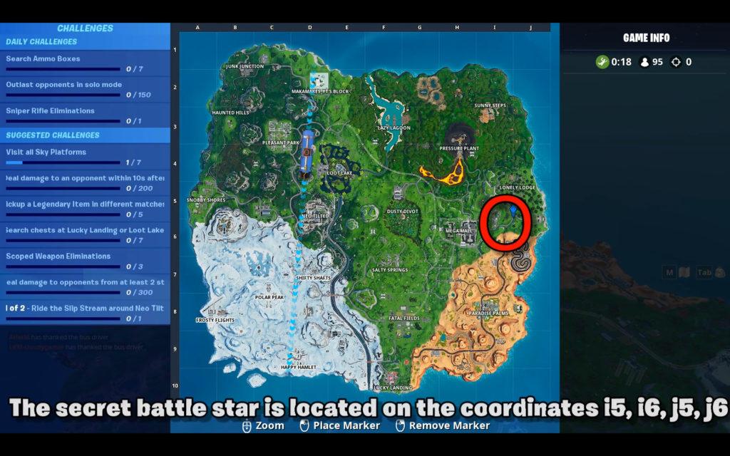 secret battle star week 1 - Fortnite season 9 map location