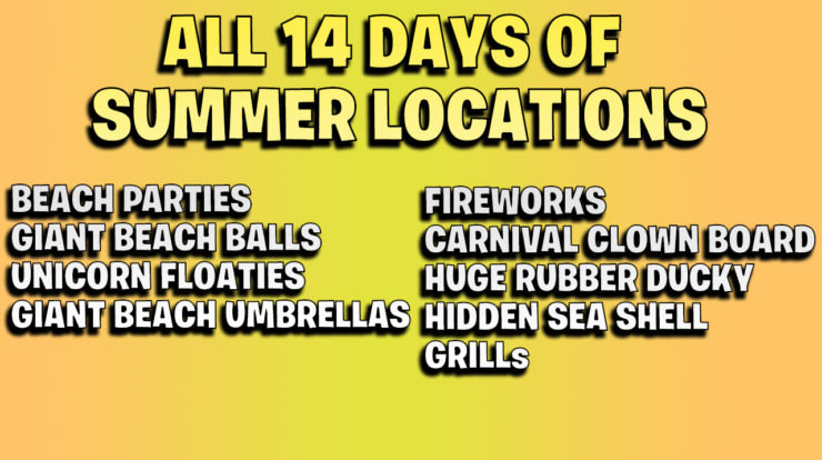 All Fortnite 14 days of summer locations