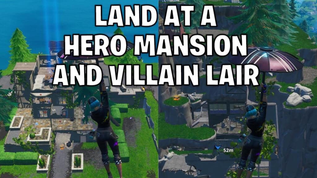 Land at a run down Hero Mansion and an abandoned Villain Lair