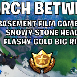 Search between a basement film camera, a snowy stone head and a flashy gold big rig