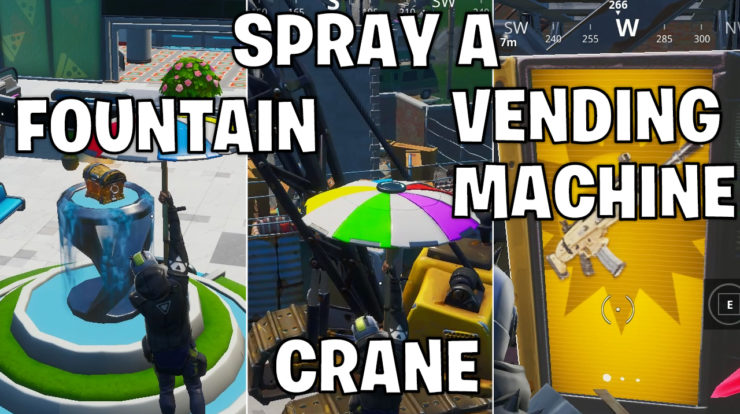 Spray a Fountain, a Junkyard Crane, and a Vending machine - Fortnite season x week 2