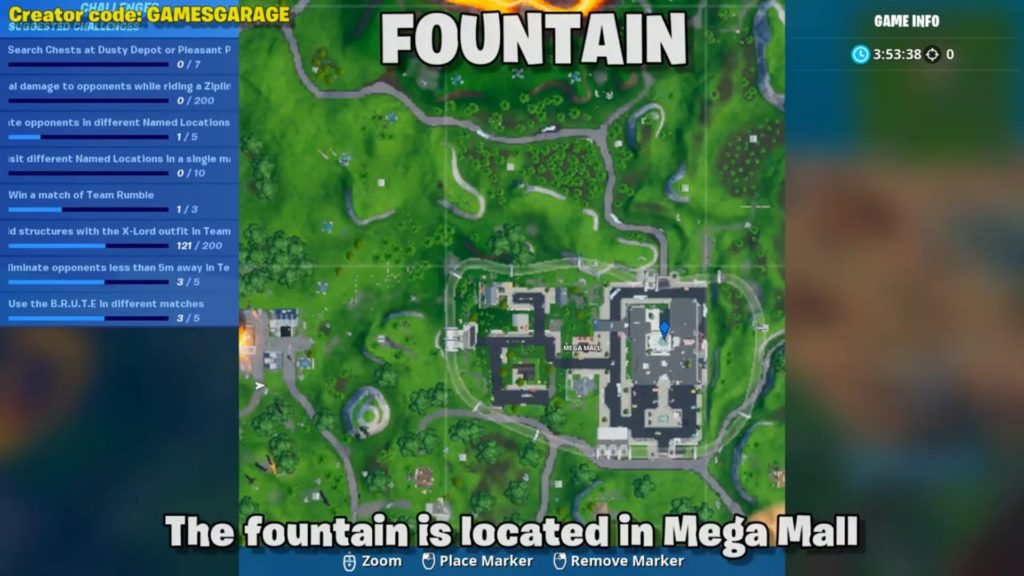 Spray paint map location 1 - fountain at mega mall