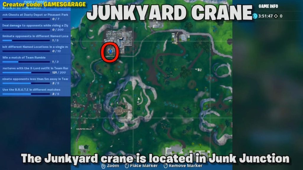 Spray paint map location 2 - junkyard crane in junk junction