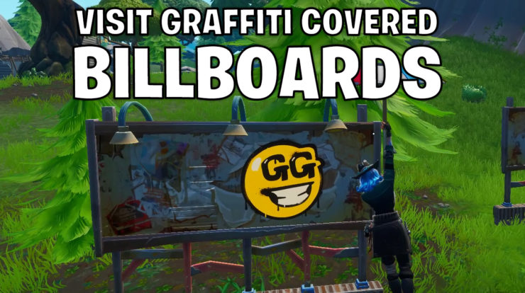 Visit graffiti covered billboards in a single match - Fortnite season X week 2 prestige challenge