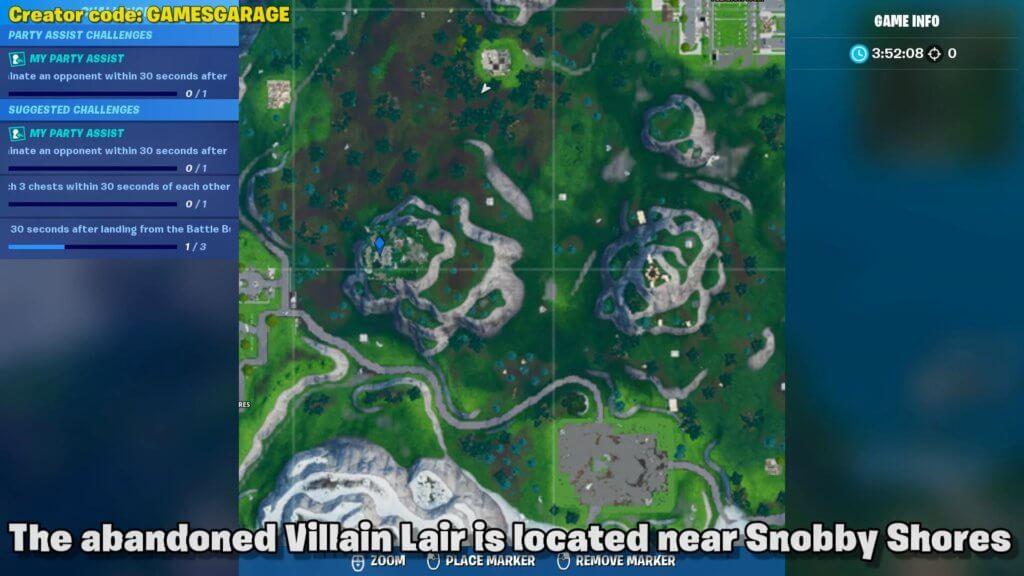 abandoned Villain Lair map location