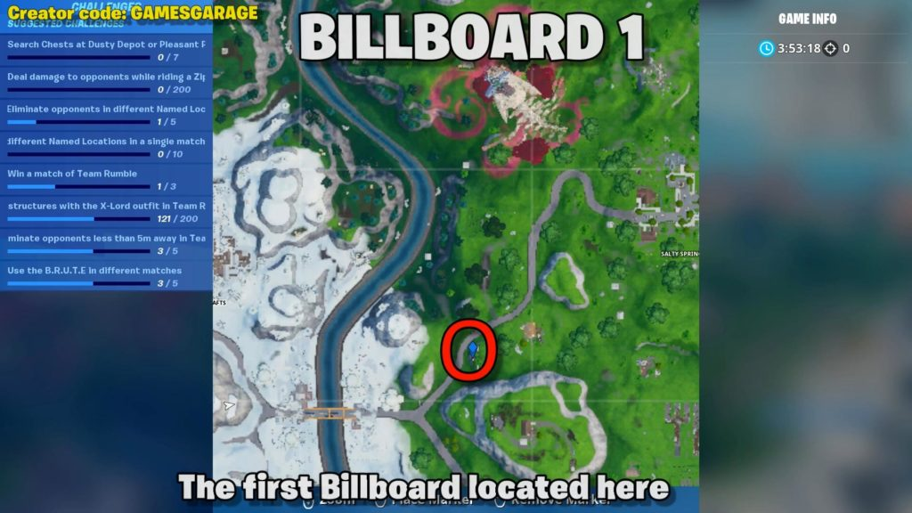 billboard map location 1 - near salty springs