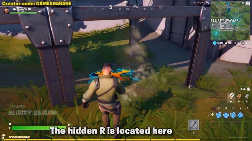 Hidden R location under pipe